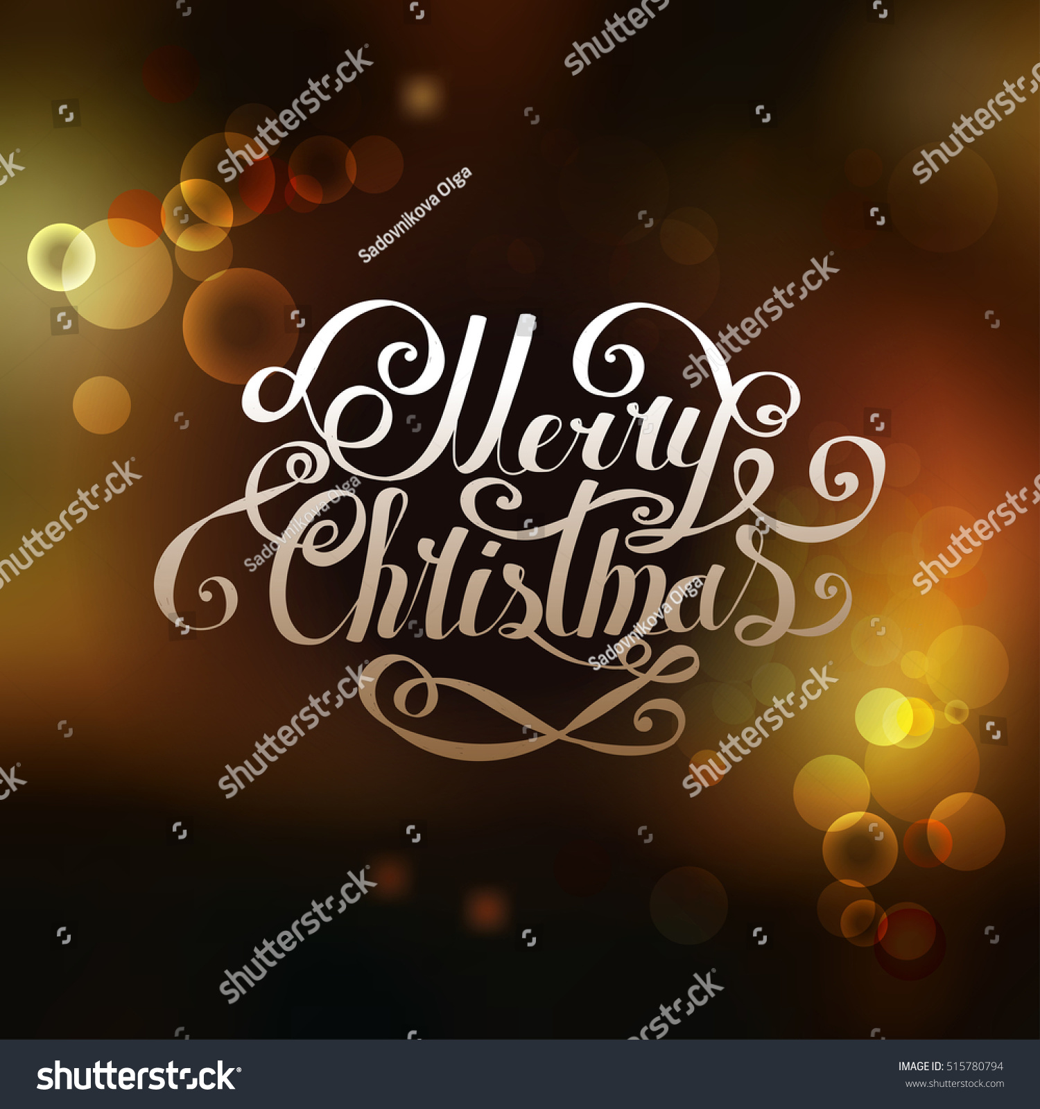 Lettering Merry Christmas Happy New Year Stock Illustration
