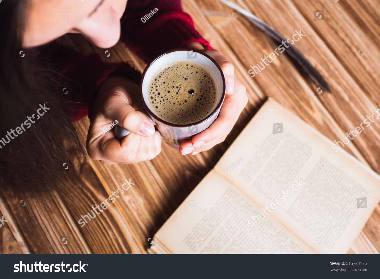 Young Woman Red Sweater Holding Cup Stock Photo 515784175 ...