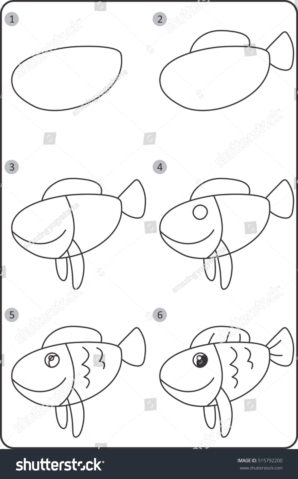 Step By Step Drawing Fish Easy Stock Vector Royalty Free 515792200