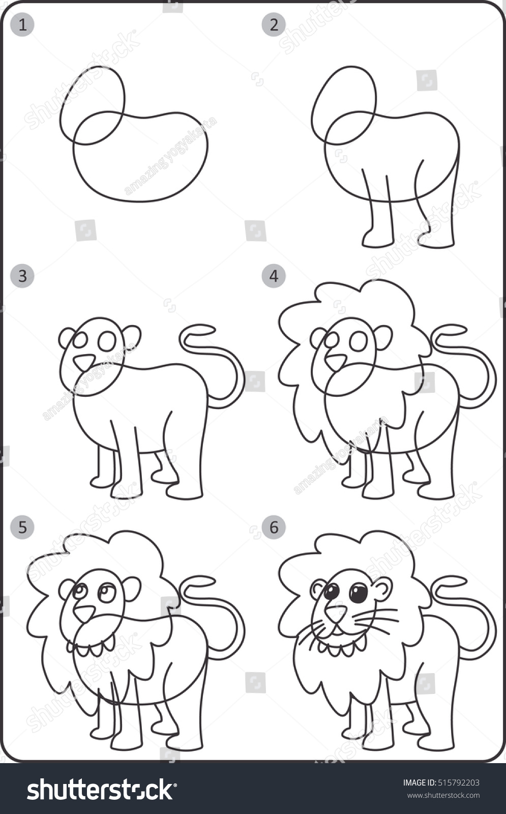 Step By Step Drawing Lion Easy Stock Vector Royalty Free 515792203