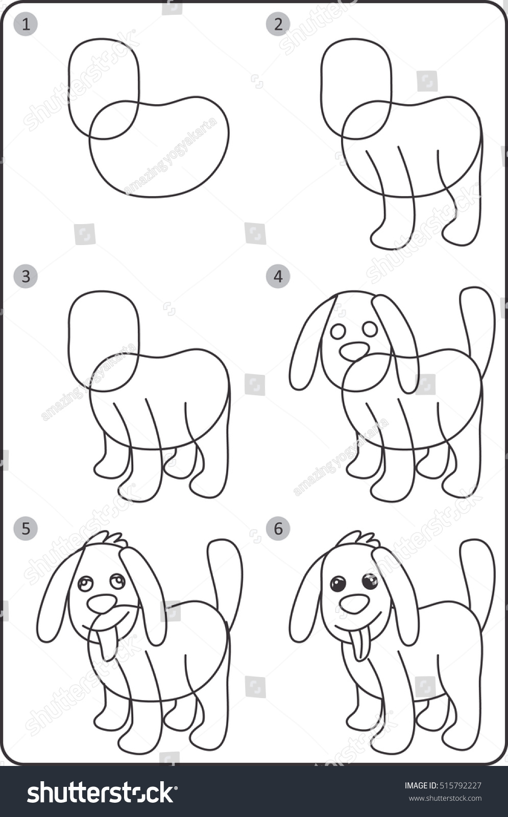 Step By Step Drawing Dog Easy Stock Vector Royalty Free 515792227