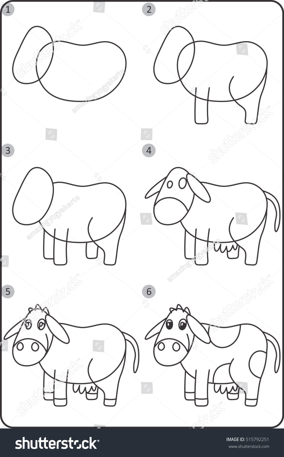 Step By Step Drawing Cow Easy Stock Vector Royalty Free 515792251