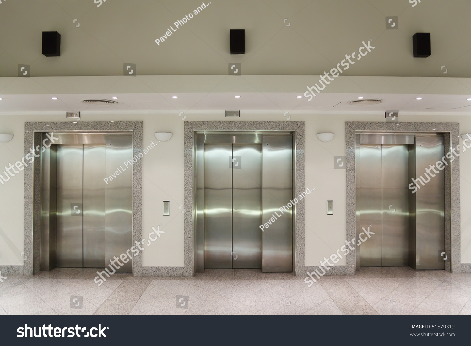 Three Elevator Doors Corridor Office Building Stock Photo 51579319 ...