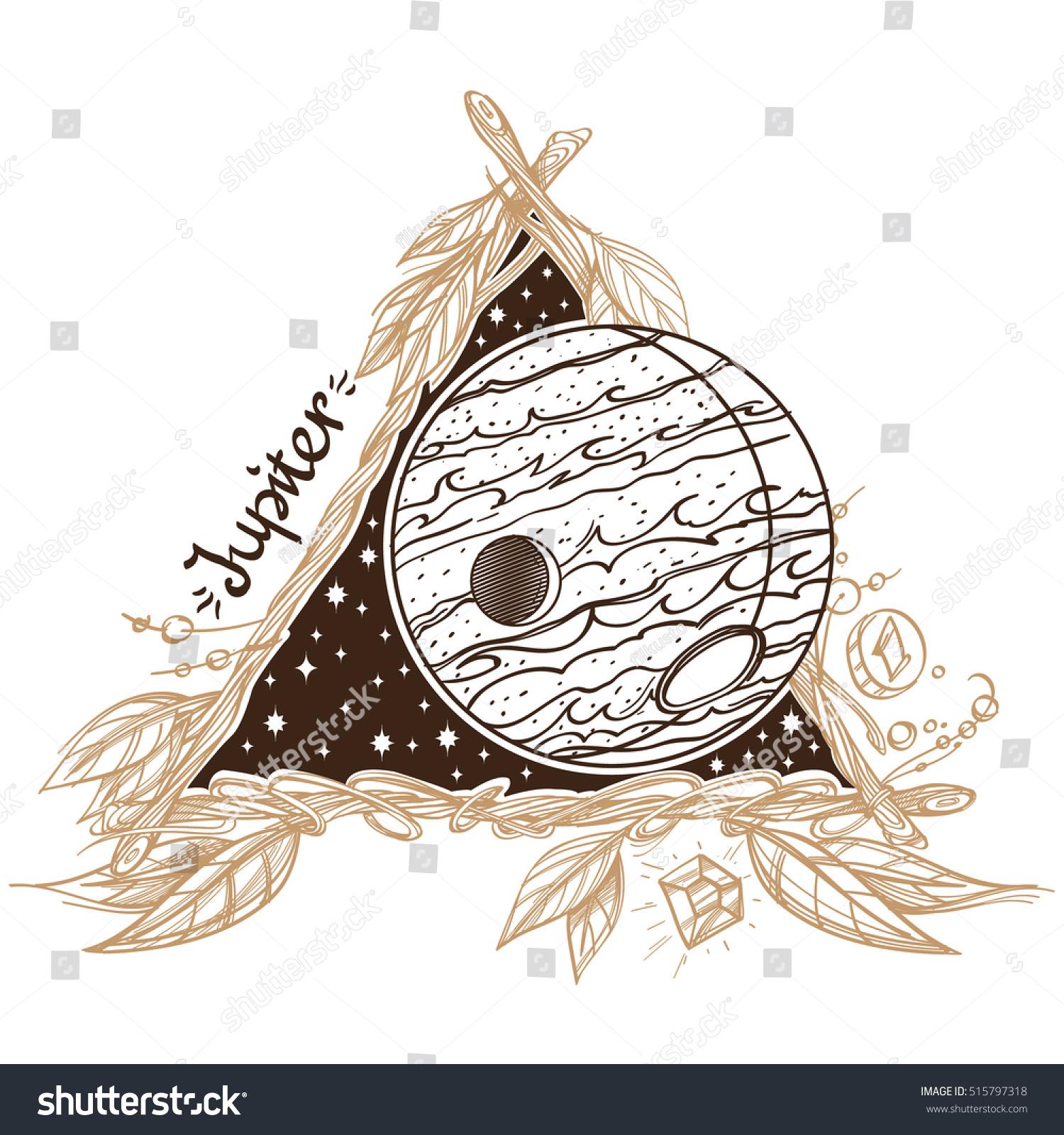 Jupiter Planets Stars Solar System Symbols Stock Vector