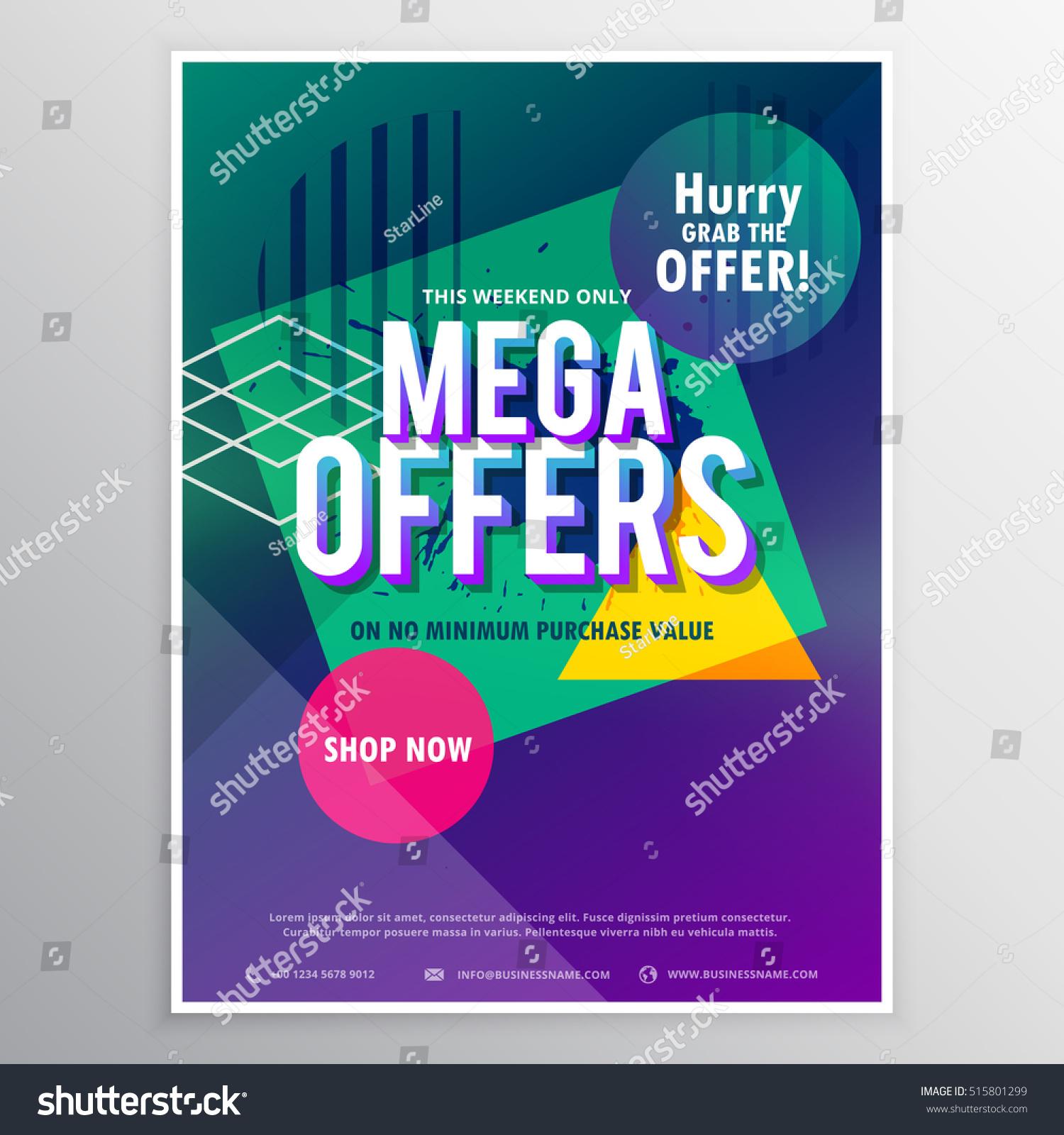 promotional brochure template - promotional mega sale brochure flyer template stock vector