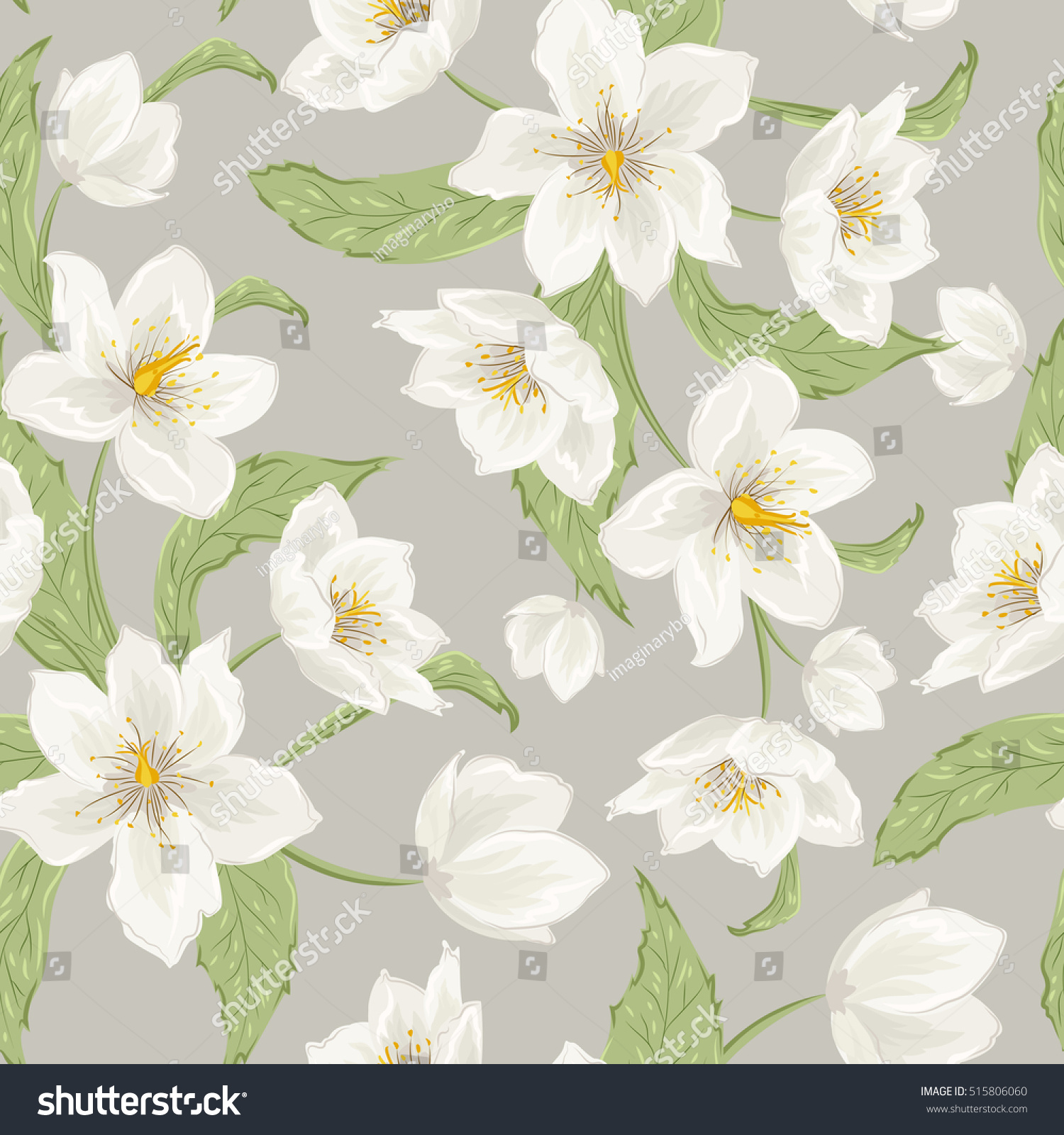Hellebore Flowers Blossom Seamless Pattern Winter Rose Christmas