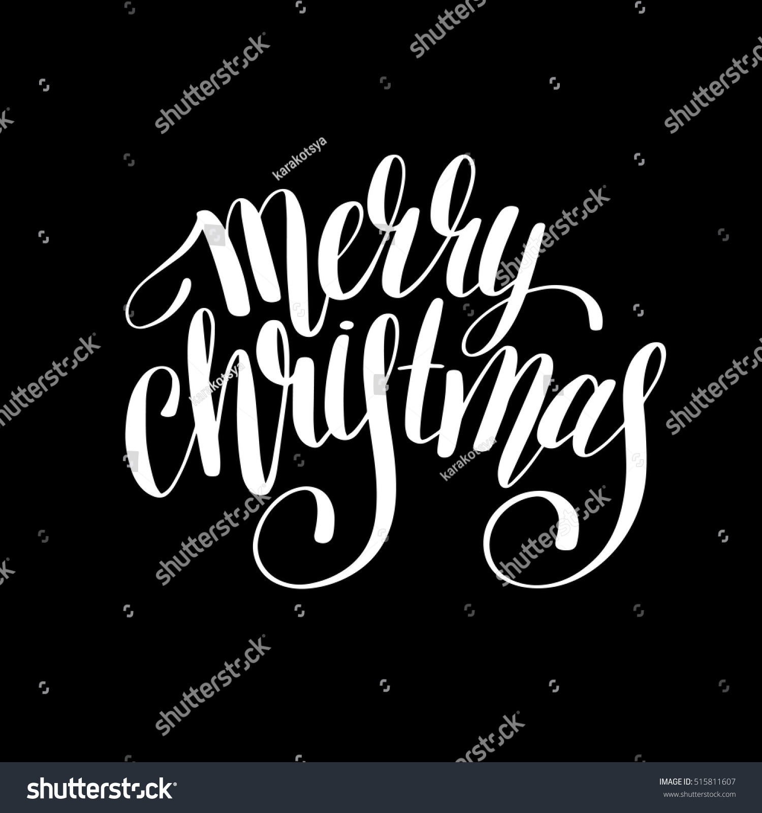 Merry Christmas Black White Handwritten Lettering Stock Vector 515811607 - Shutterstock