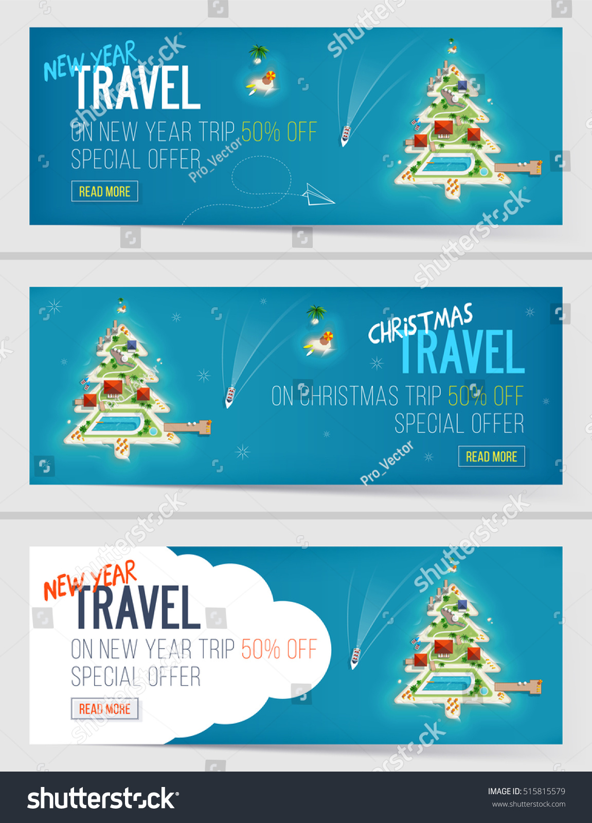 Three New Year Christmas Vacation Holiday Stock Vector 515815579 ...