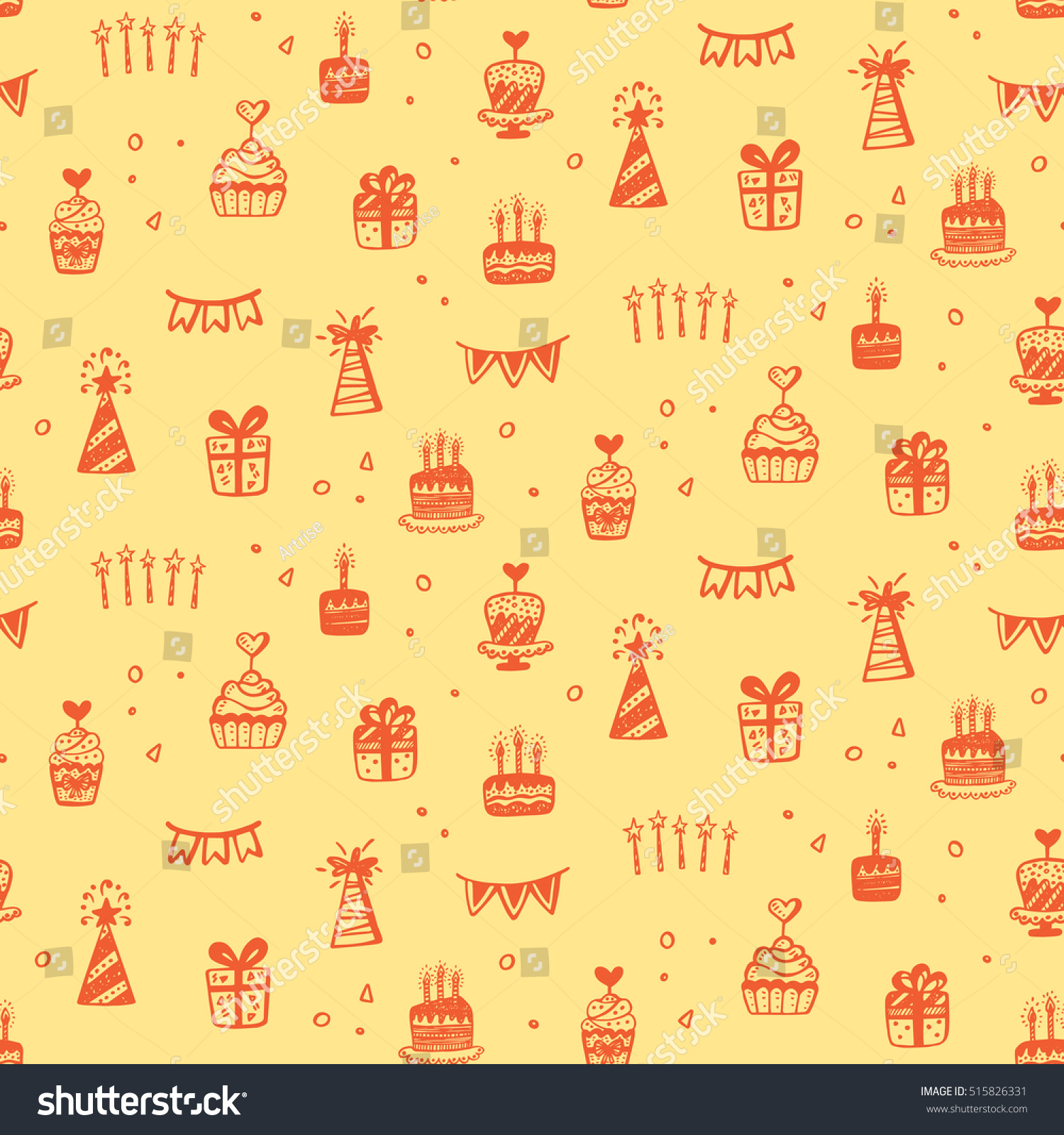 Birthday Party Seamless Patterns Hand Drawn Stock Vector 515826331