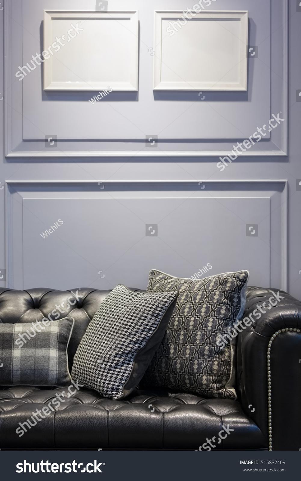 Vintage Style Black Leather Sofa Pillows Stock Photo 515832409  ~ Vintage Black Leather Sofa