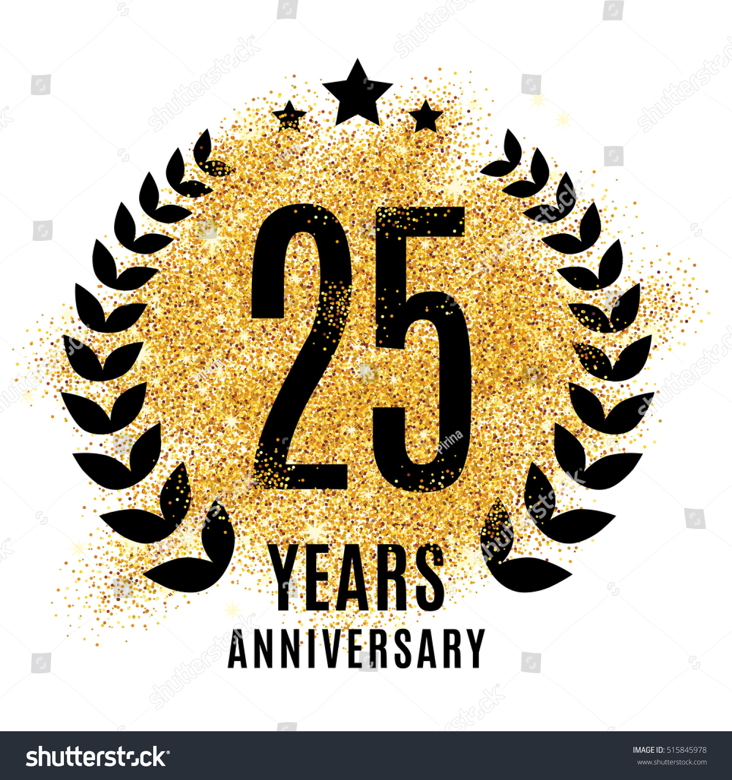 Twenty Five Years Gold Anniversary Symbol Stock Illustration