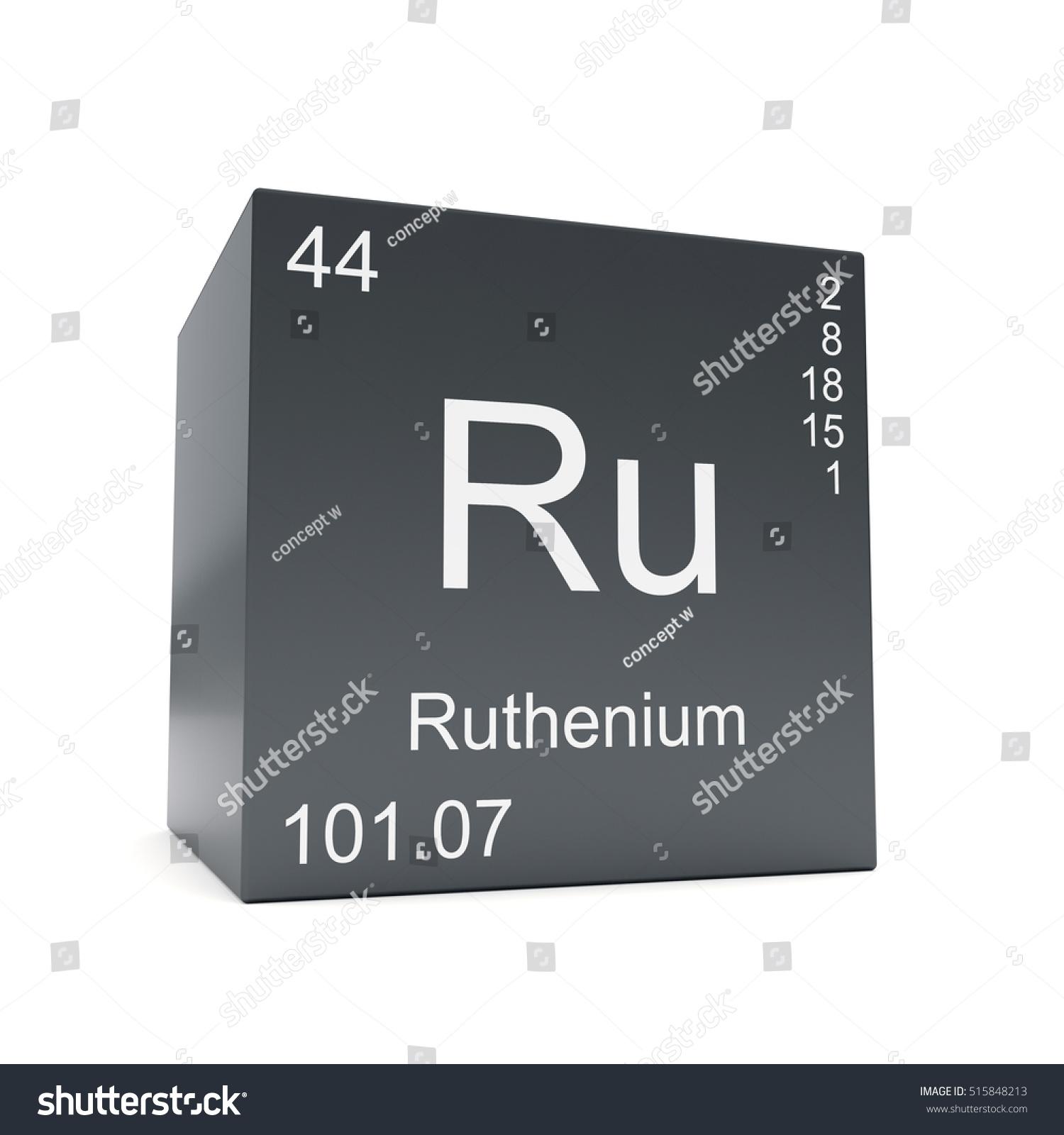 Ruthenium Chemical Element Symbol Periodic Table Stock Illustration