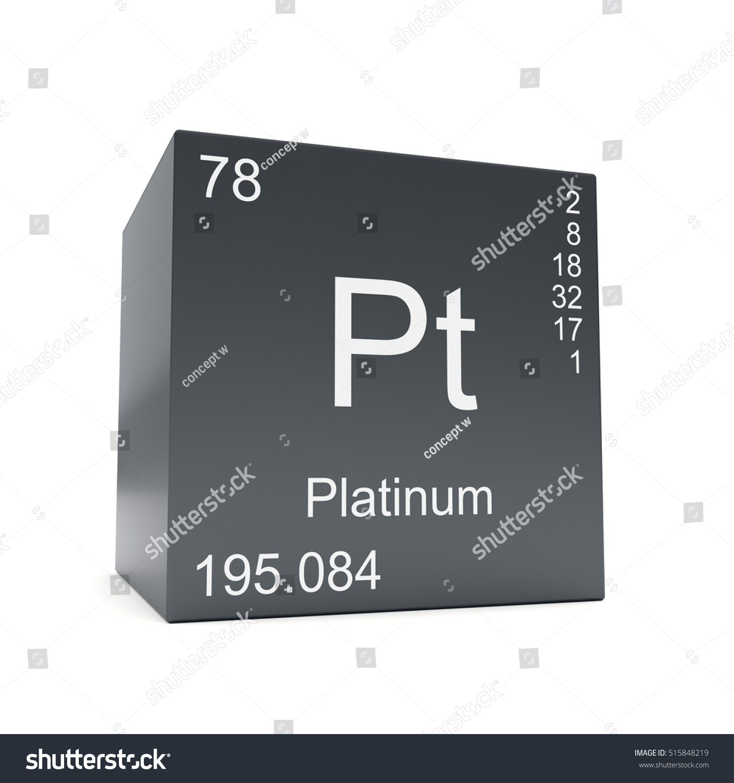 Platinum Chemical Element Symbol Periodic Table Stock Illustration