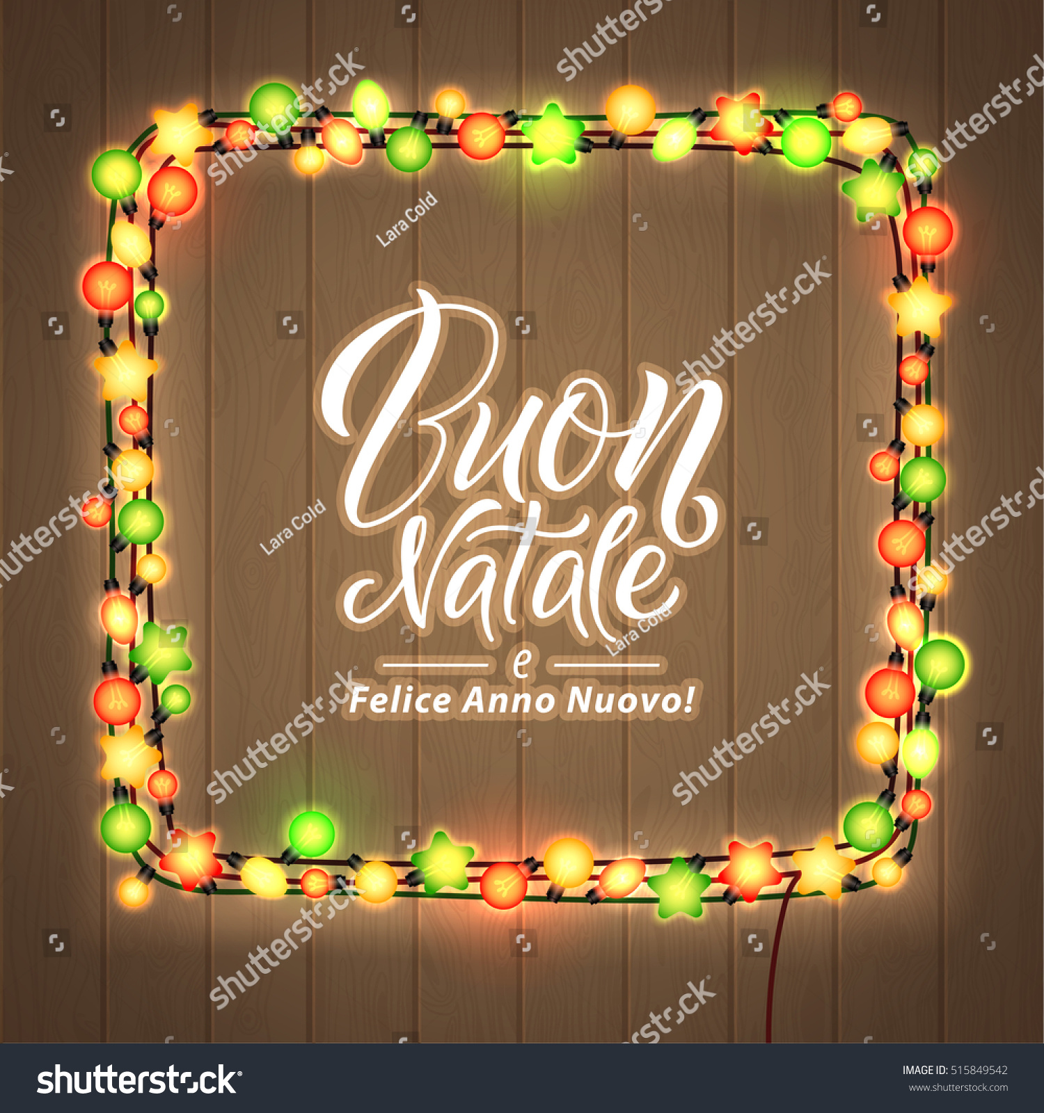 Merry christmas happy new year italian stock vector 515849542 merry christmas and happy new year italian language glowing christmas lights wreath for xmas kristyandbryce Gallery