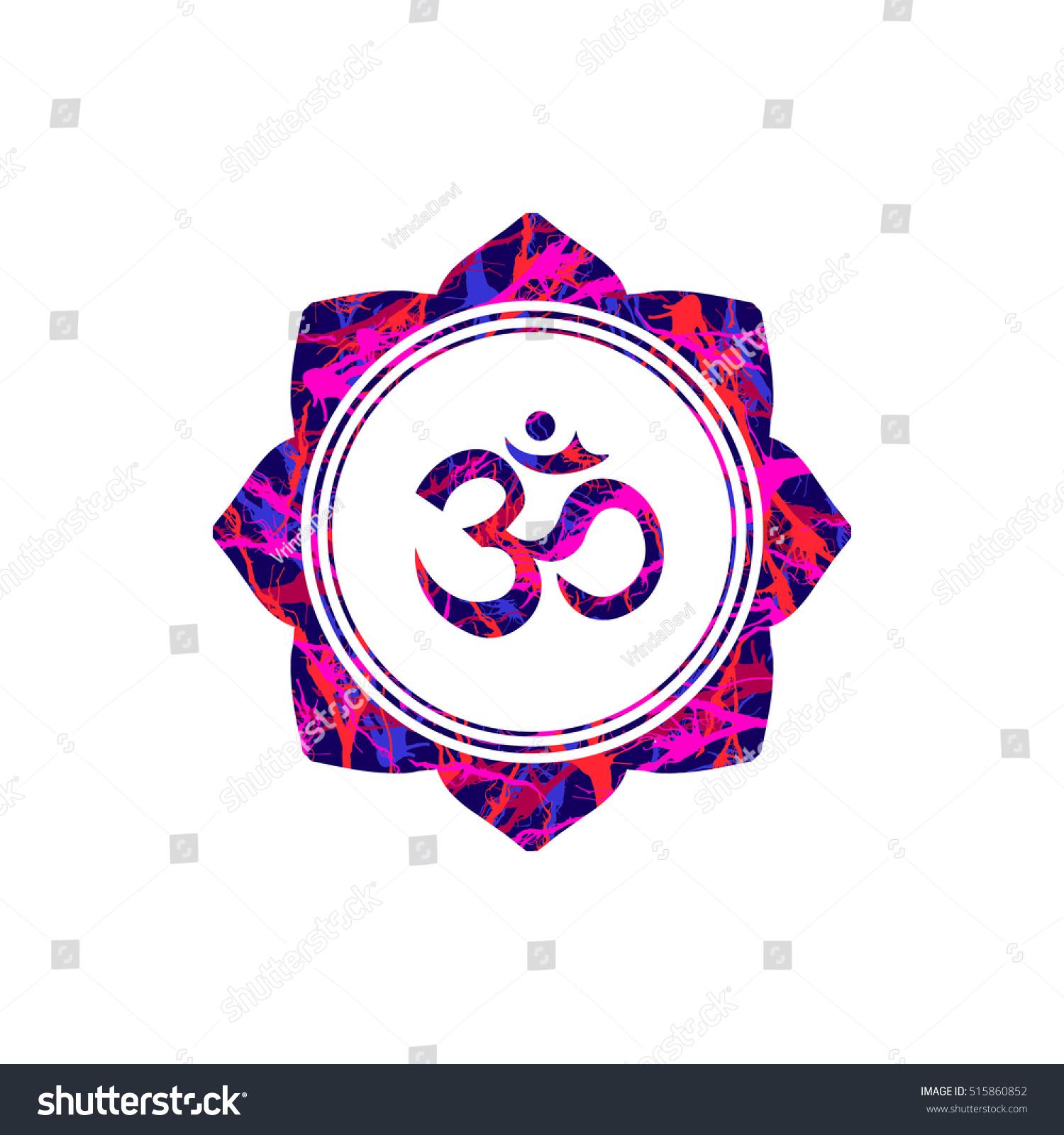 Om Sign Lotus Flower Vector Buddhist Stock Vector Royalty Free