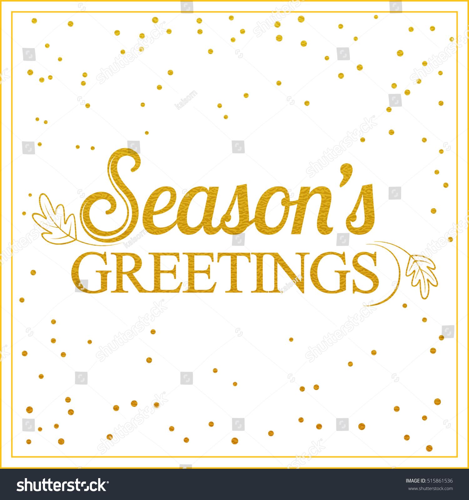 Vector Gold Seasons Greetings Card Design Vintage Stock Vector