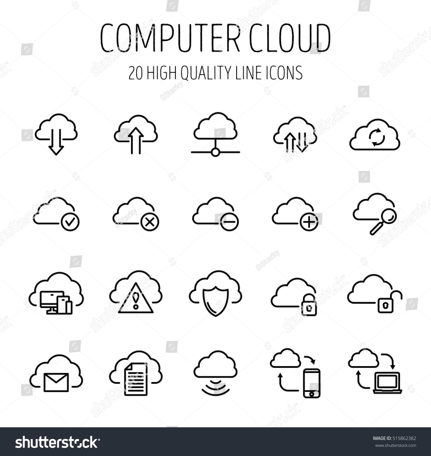 Set Computer Cloud Icons Modern Thin Stock Vector Royalty Free