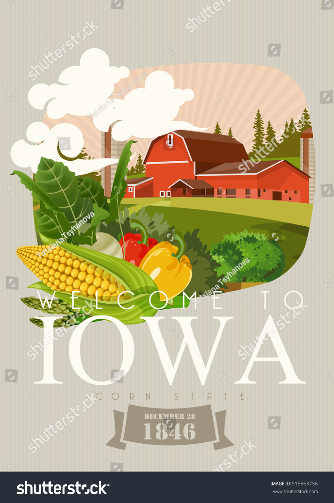 Iowa vector poster usa banner state stock vector 515863756 usa banner with state symbols united states of america card buycottarizona