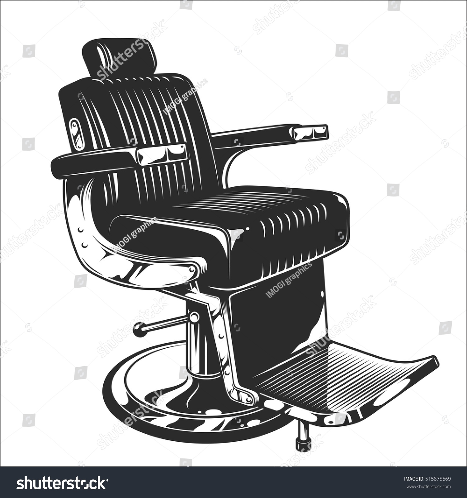 Hair salon chair isolated stock photos illustrations and vector art - Monochrome Illustration Of Barbershop Chair Leather With Chrome Elements Isolated On White Background