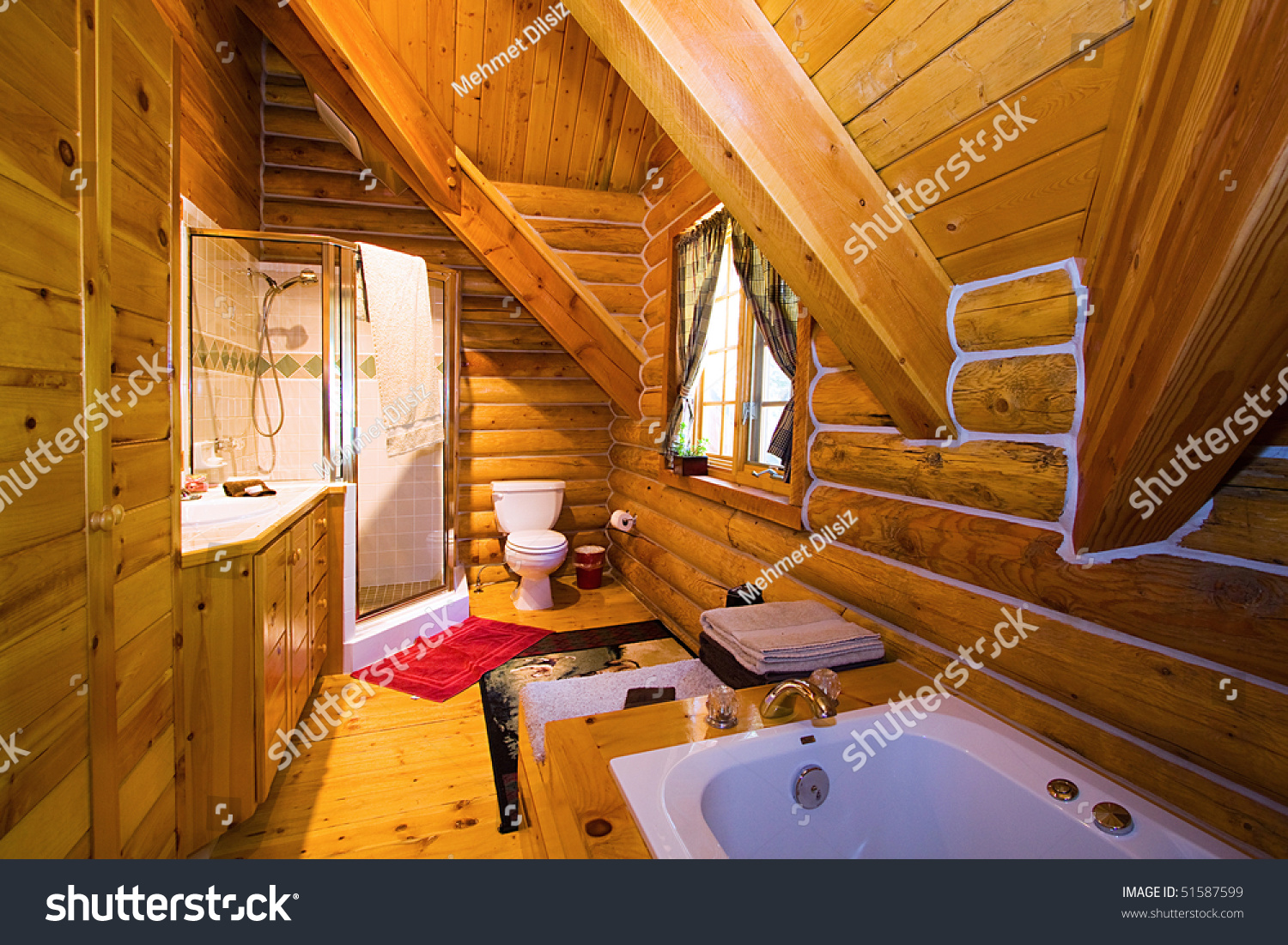 close up on a bathroom in a log cabin stock photo 51587599
