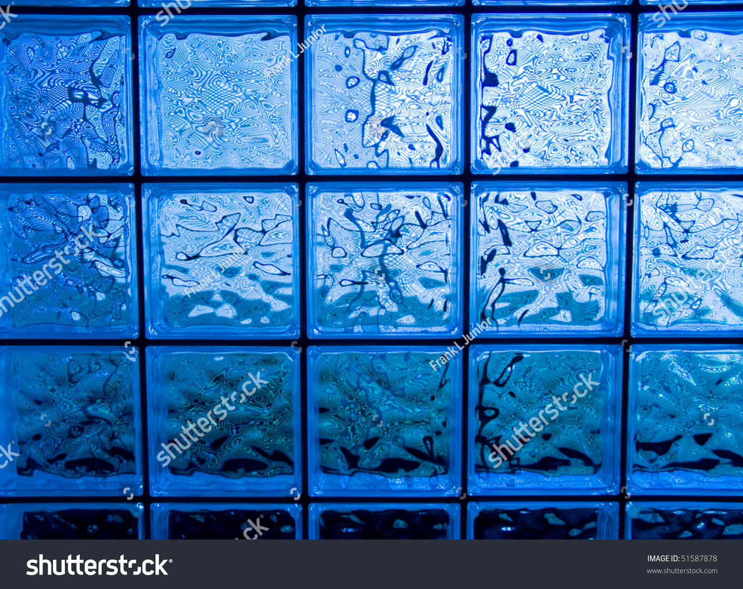 Abstract of a blue tone glass block window frame stock for Glass block window frame