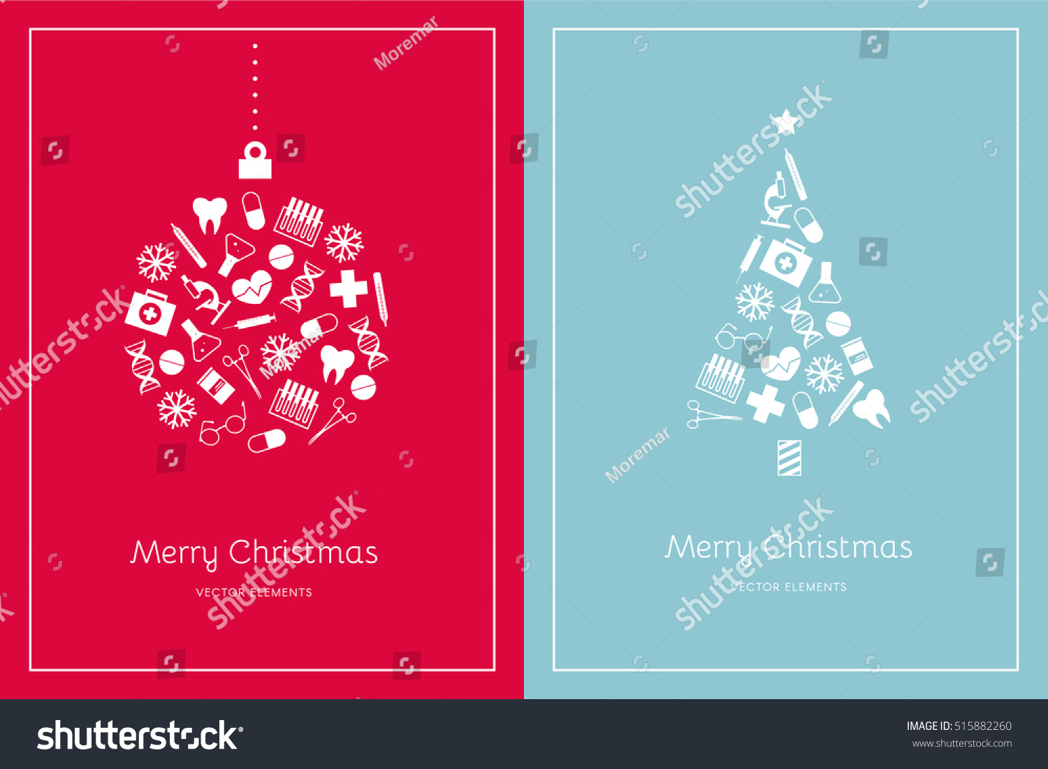 Two Christmas Cards On Red Light Stock Vector 515882260 - Shutterstock