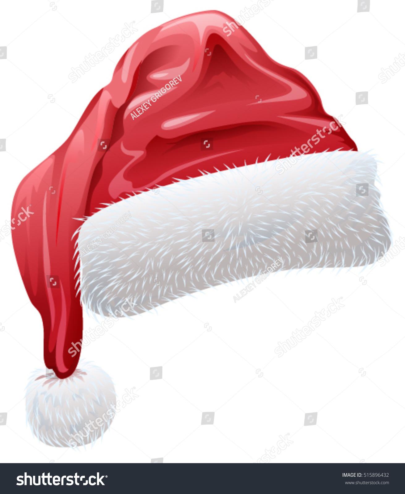 76ecce461b9c5 Red Santa Hat Fluffy White Fur Stock Vector (Royalty Free) 515896432 ...