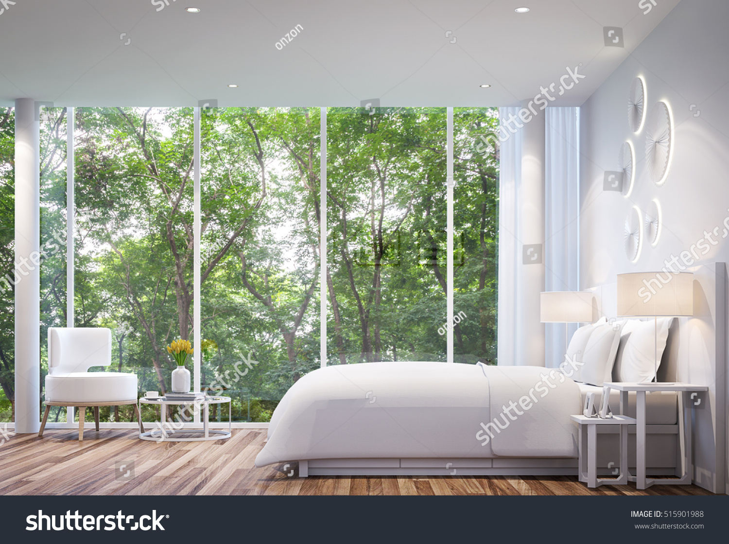 White Bedroom Modern Minimalist Style White Stock Photo (Edit Now ...