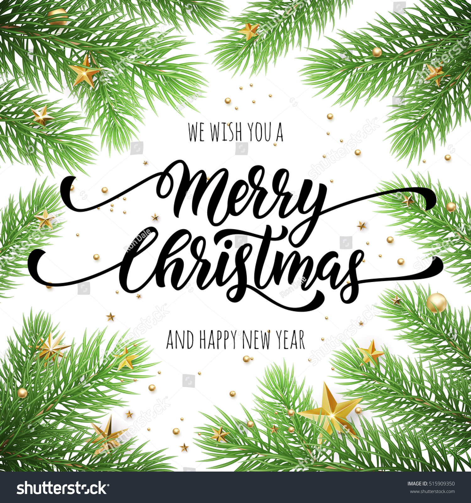 Merry Christmas Happy New Year Greeting Stock Vector 515909350