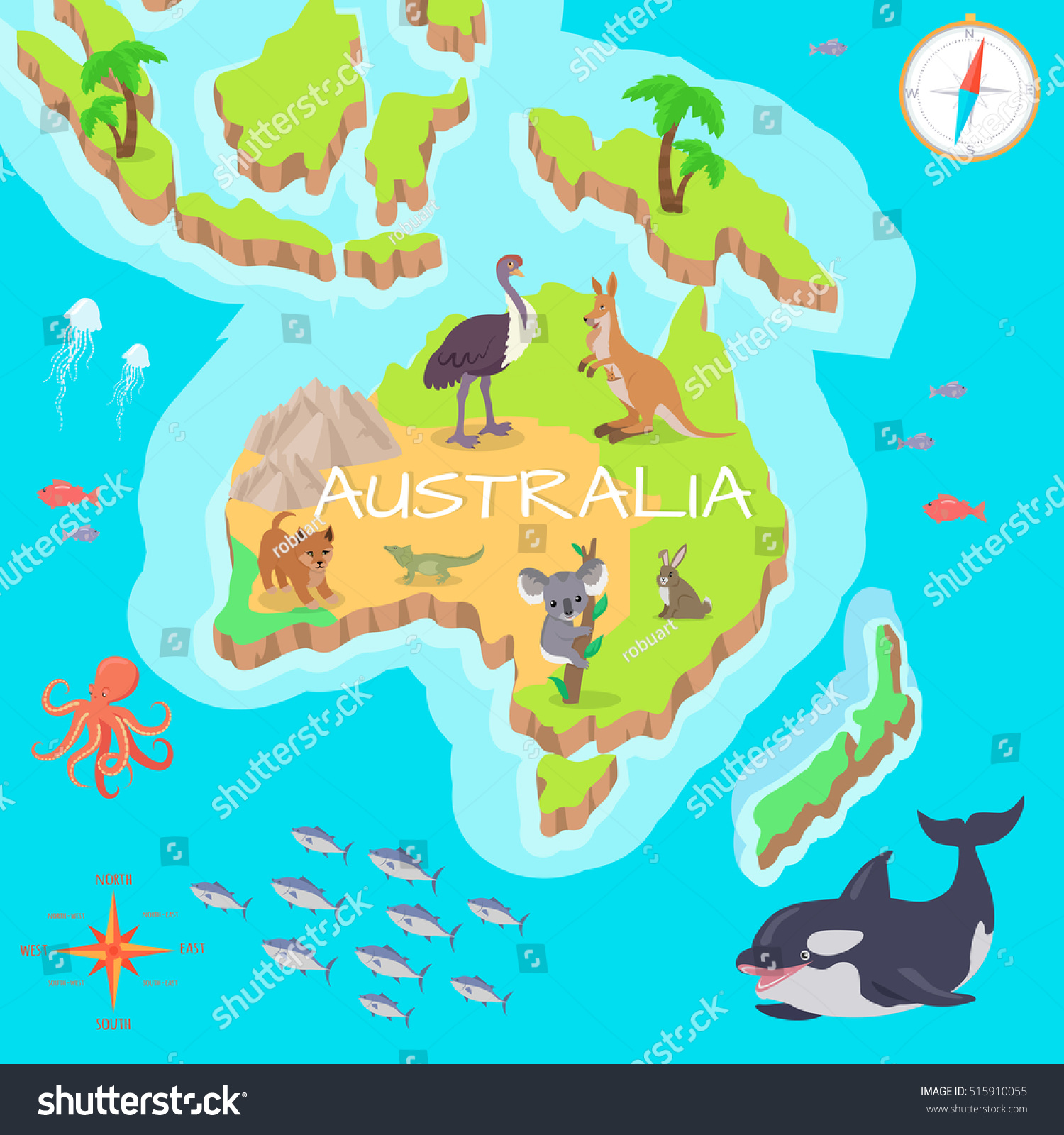 australia isometric map with flora and fauna cartography concept with nature geographical map with