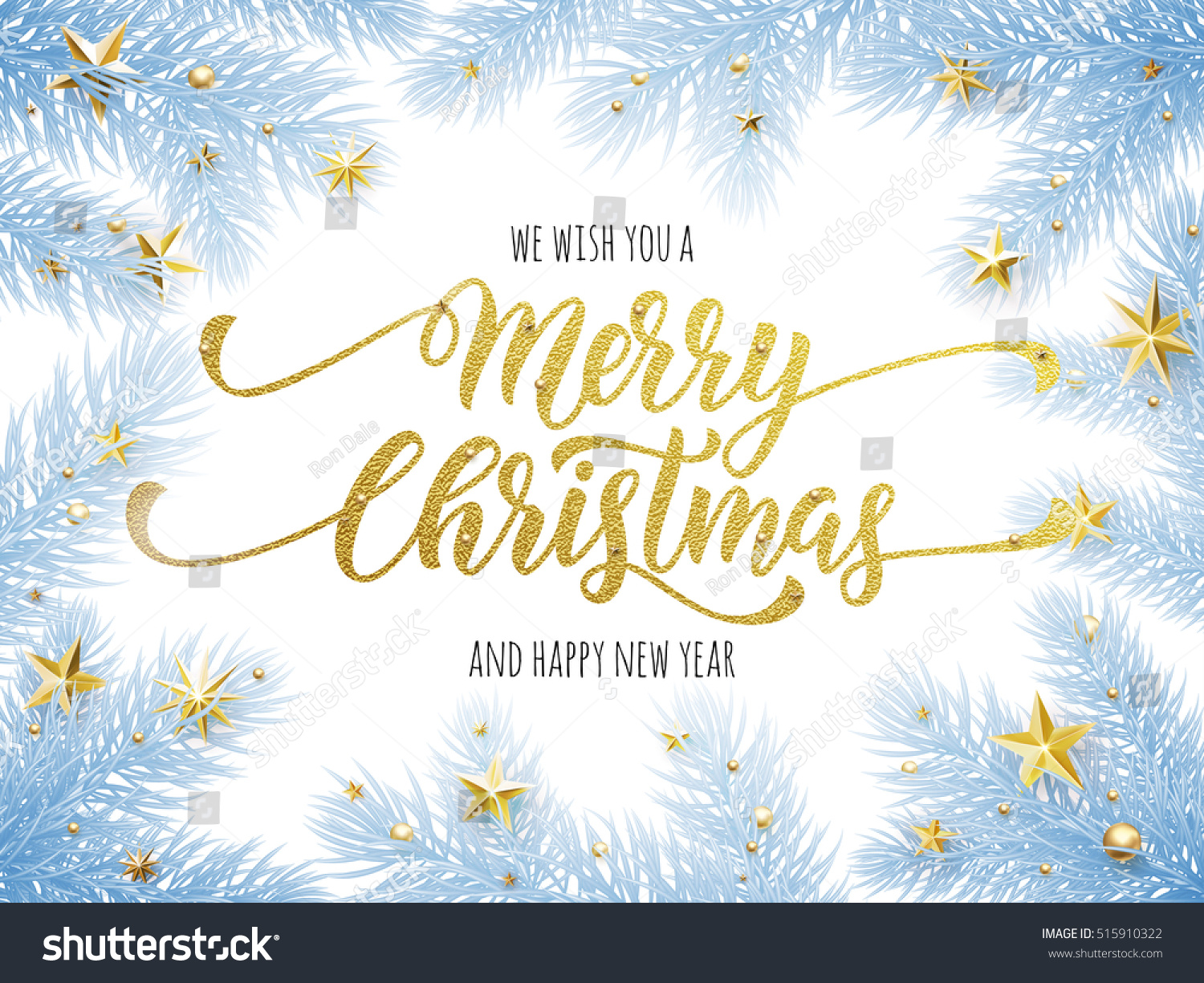 Merry Christmas Happy New Year Greeting Stock Vector 515910322 ...