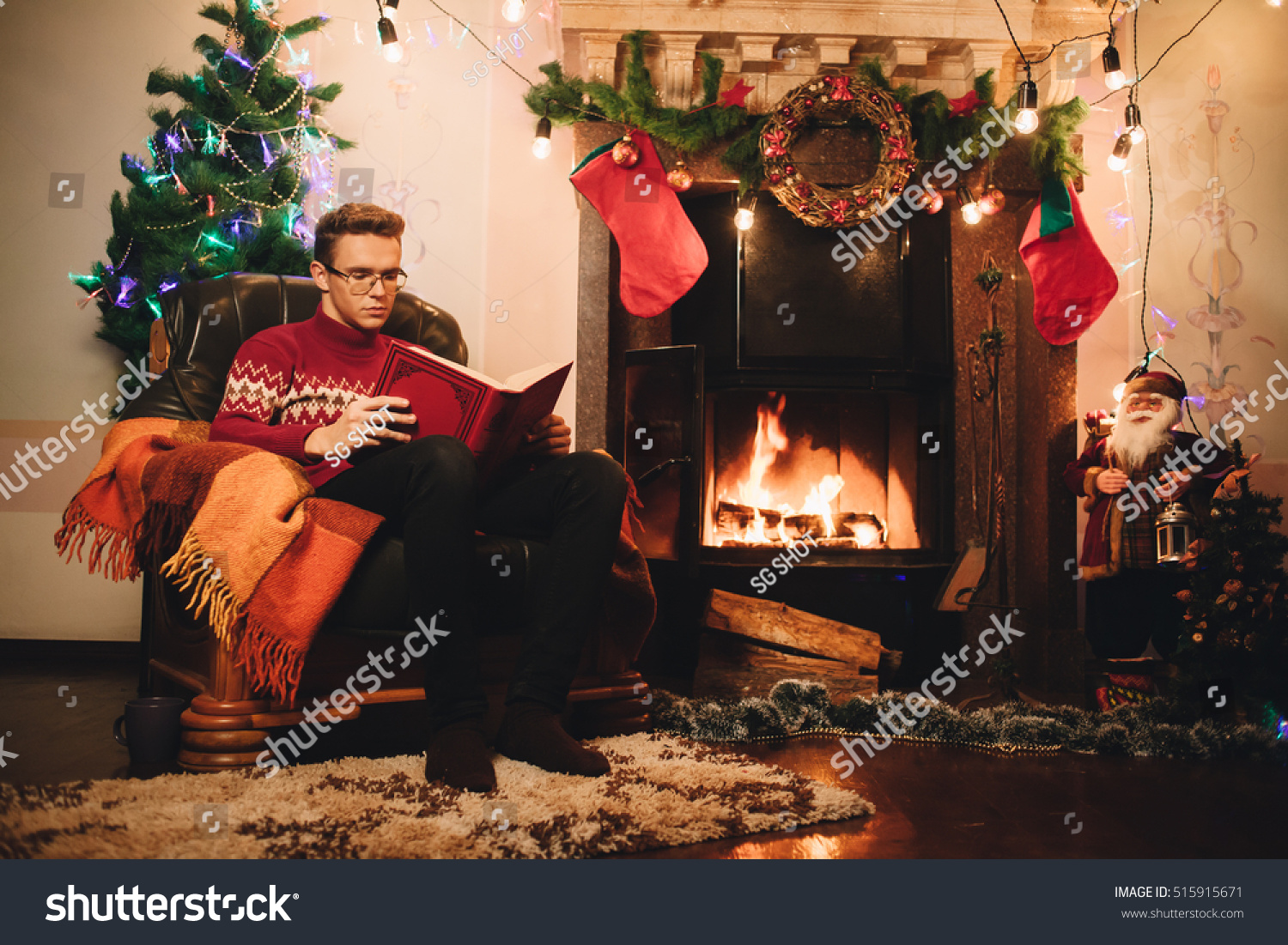 Happy Man Red Sweater Sitting Front Stock Photo 515915671 ...
