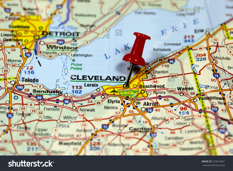 Map Pin Point Cleveland Ohio Usa Stock Photo Shutterstock - Usa map cleveland