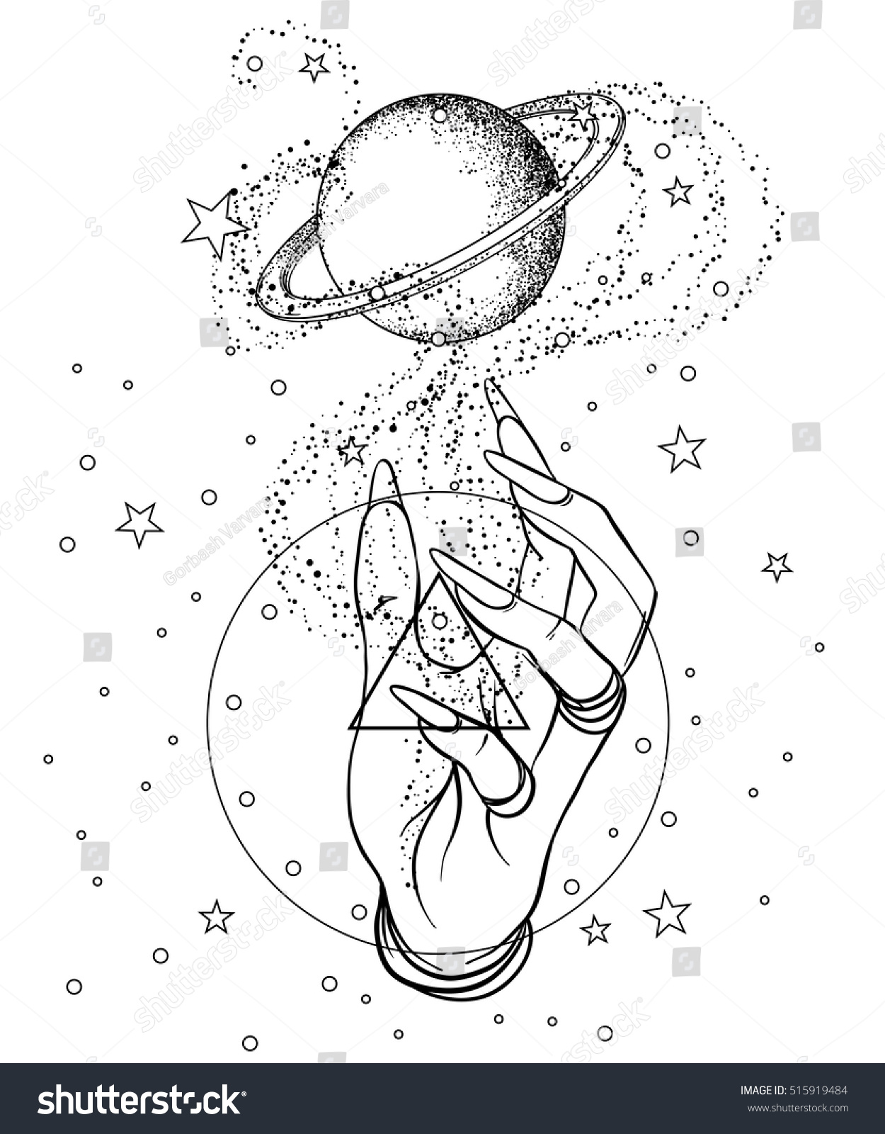 vintage astronomy human hands space saturn stock vector 515919484