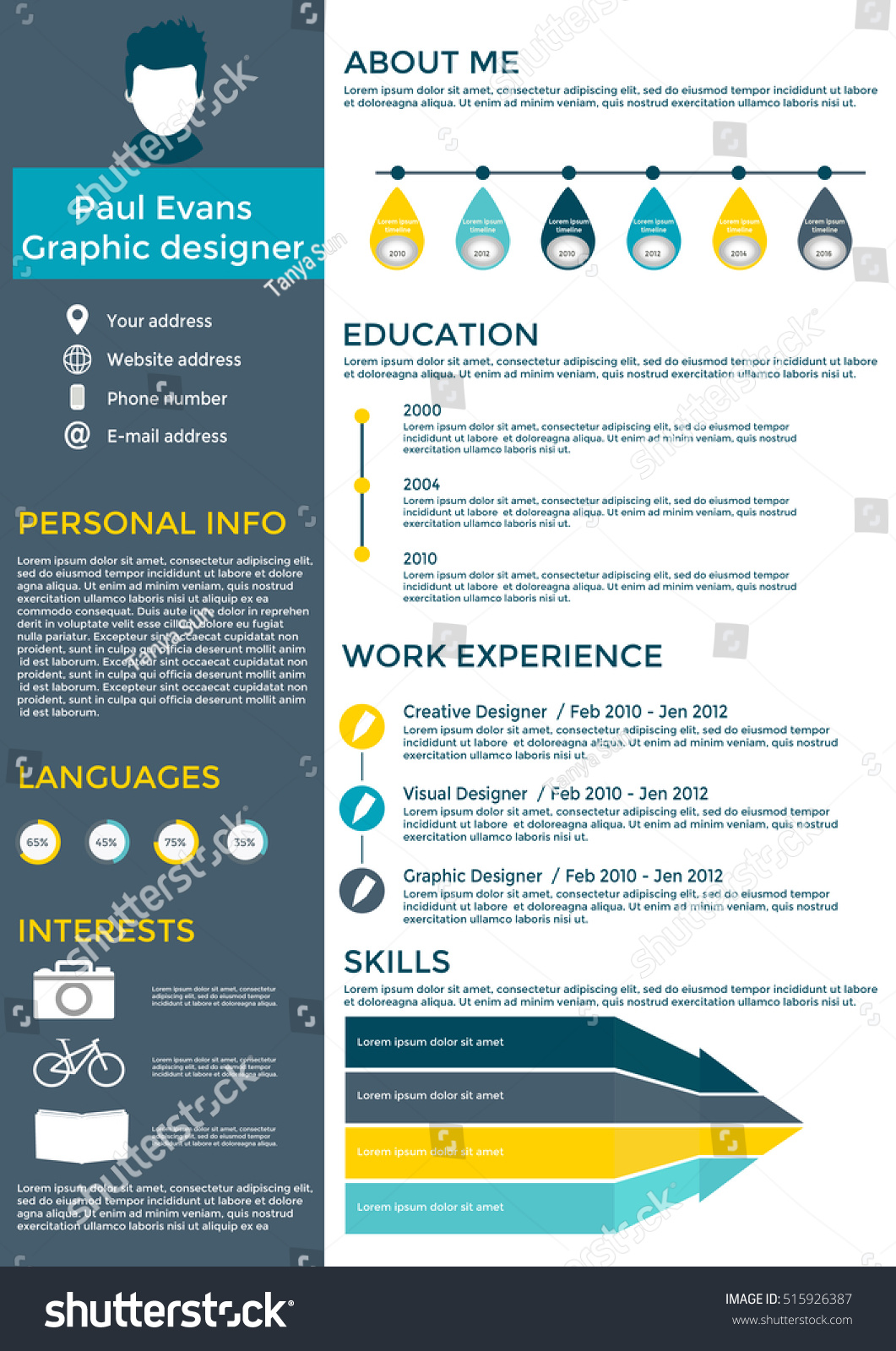 Flat Resume Infographic Design Resume Cv Stock Vector