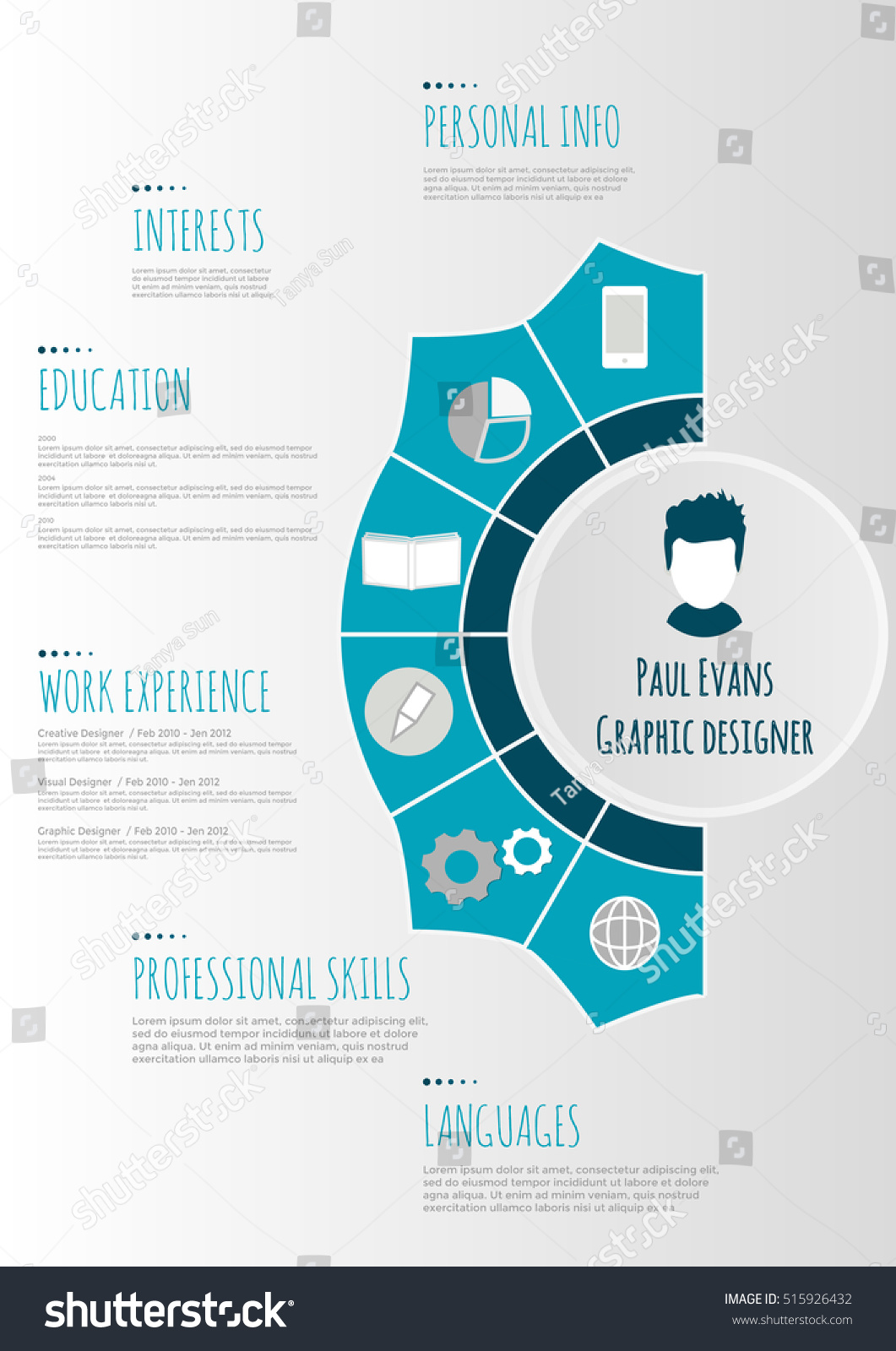 flat resume infographic design resume cv set with infographics and timeline clean vector