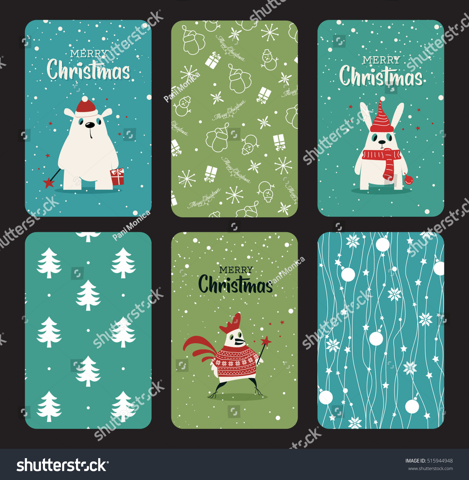 Merry Christmas Greeting Card Set Cute Stock Vector Royalty Free