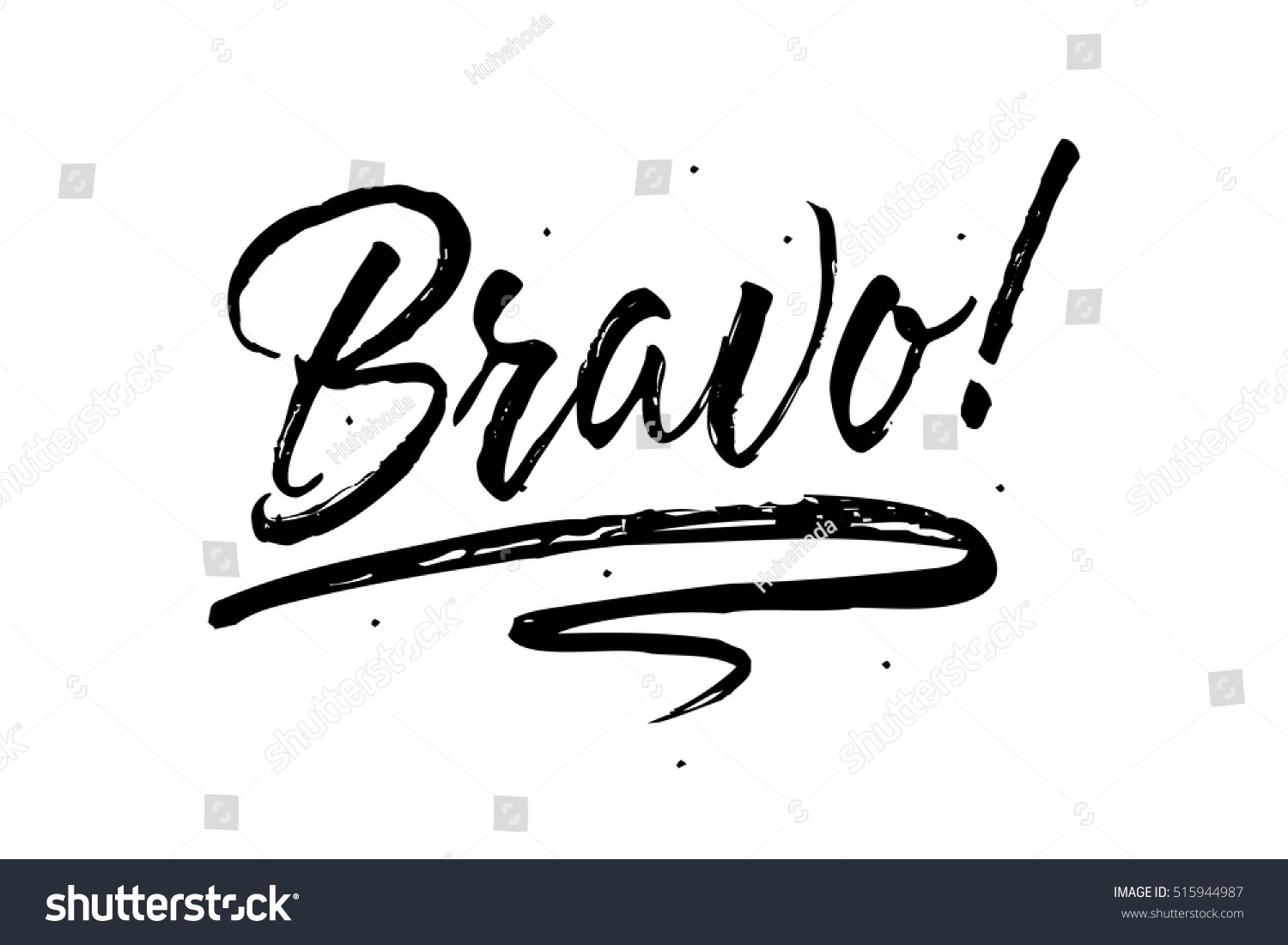 Bravo Beautiful Greeting Card Scratched Calligraphy Stock