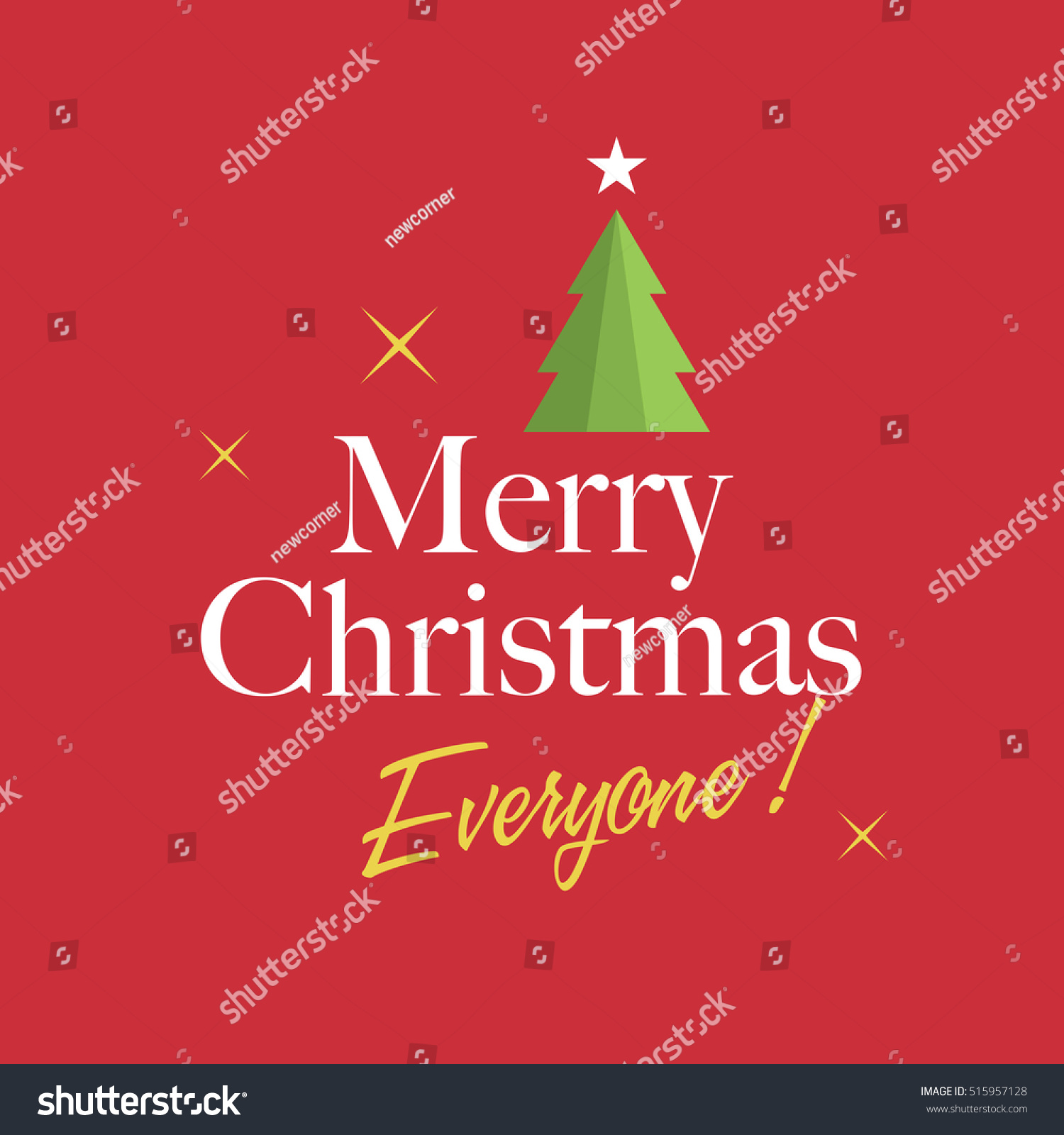 christmas card with christmas tree stars and logo title editable vector design - Christmas Card Tree