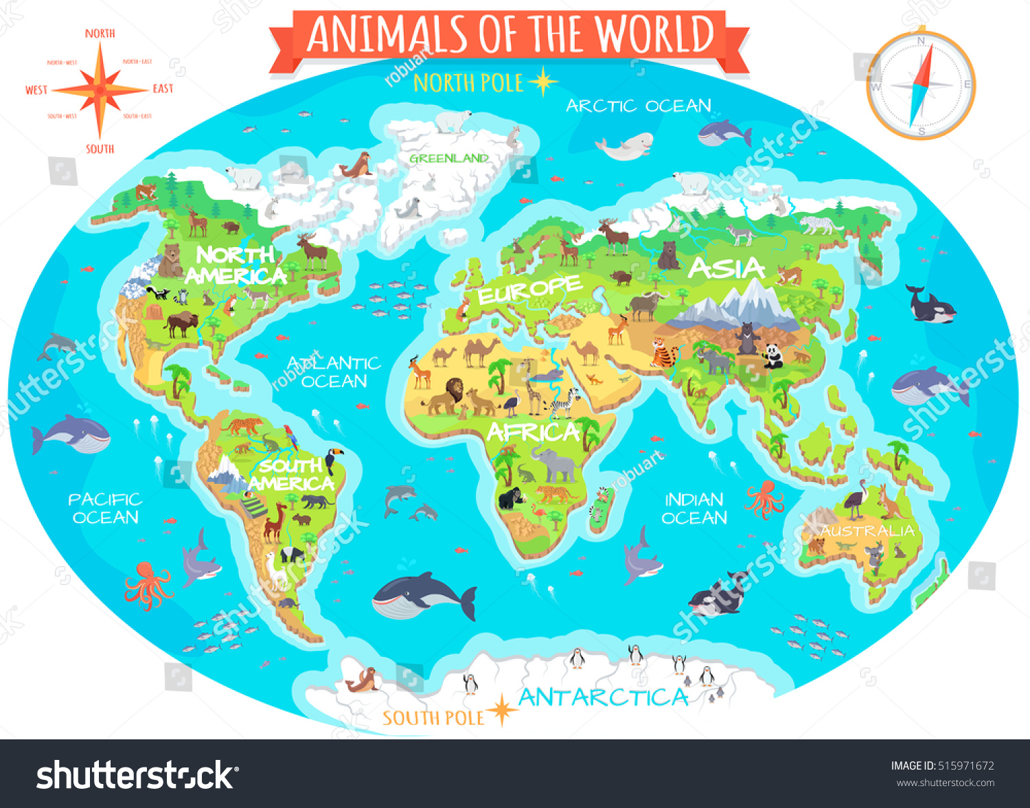 Animals world flat style world globe stock illustration 515971672 animals of the world flat style world globe with map of continents and different gumiabroncs Gallery