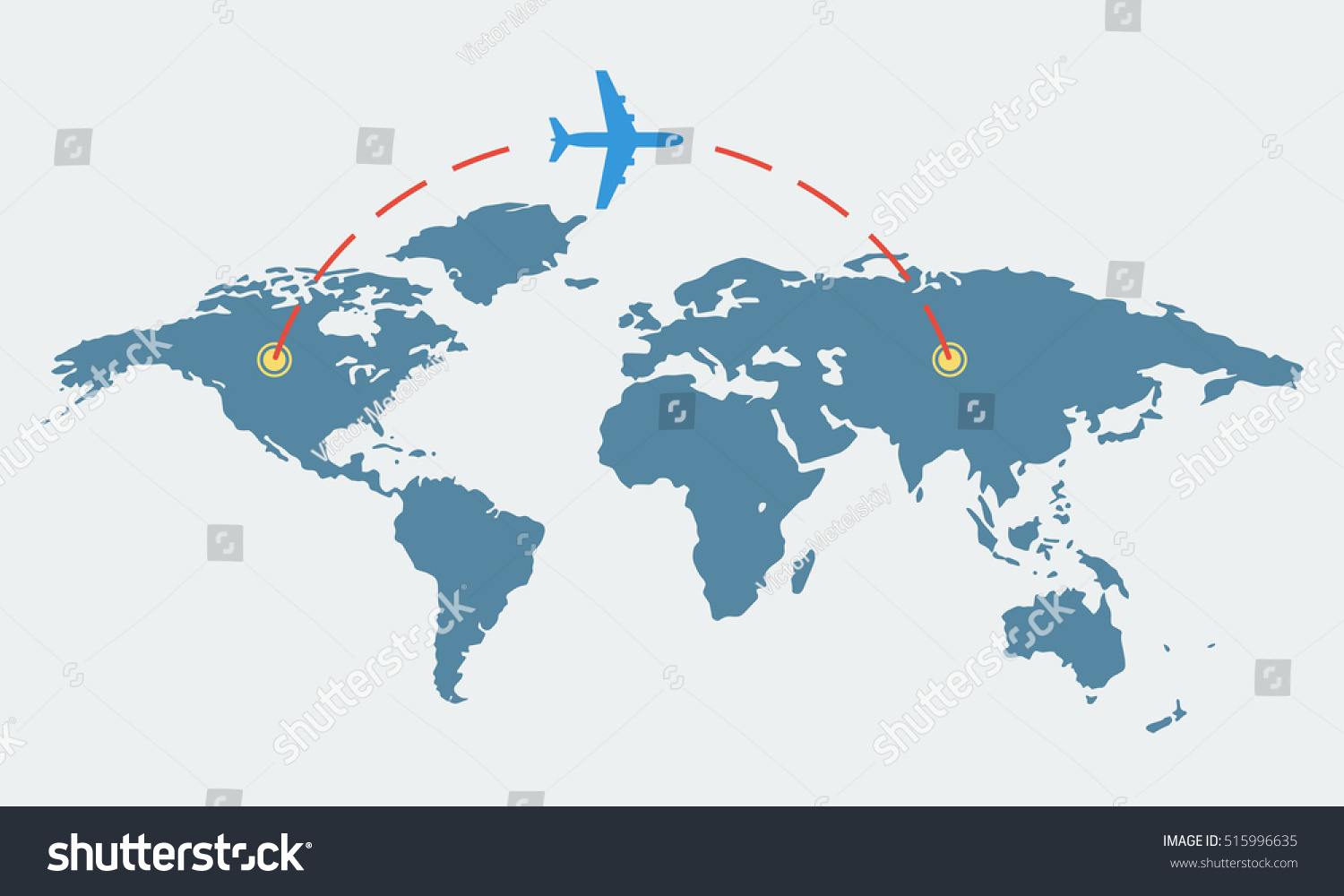 World map plane travel tourism concept stock vector 515996635 world map with plane travel and tourism concept airplane route vector illustration gumiabroncs Choice Image