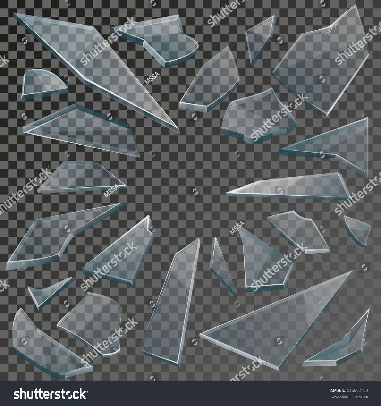 Realistic Transparent Shards Broken Glass On Stock Vector ...