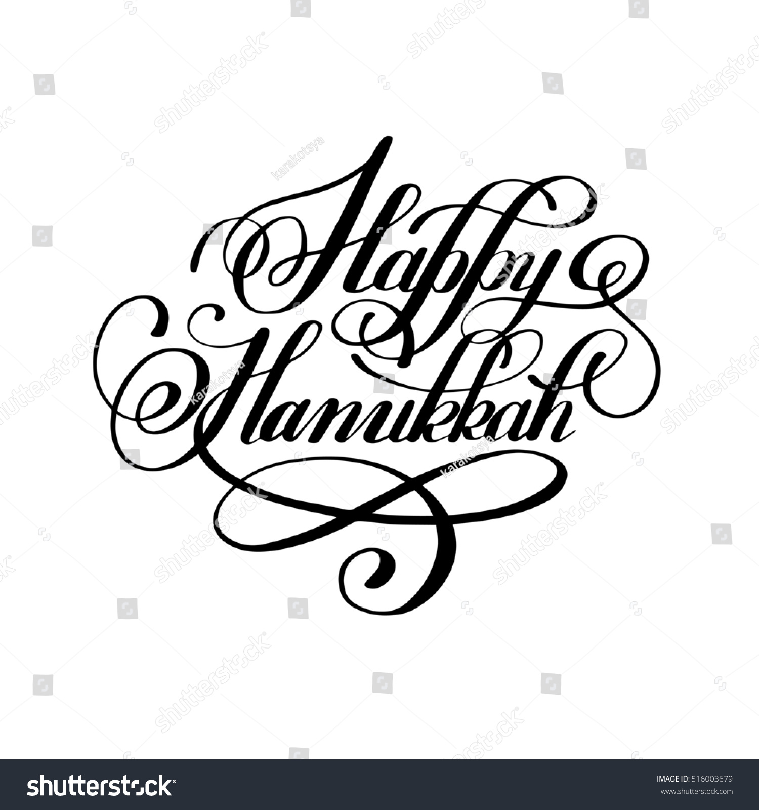 Happy Hanukkah Handwritten Lettering Inscription To Jewish Holiday