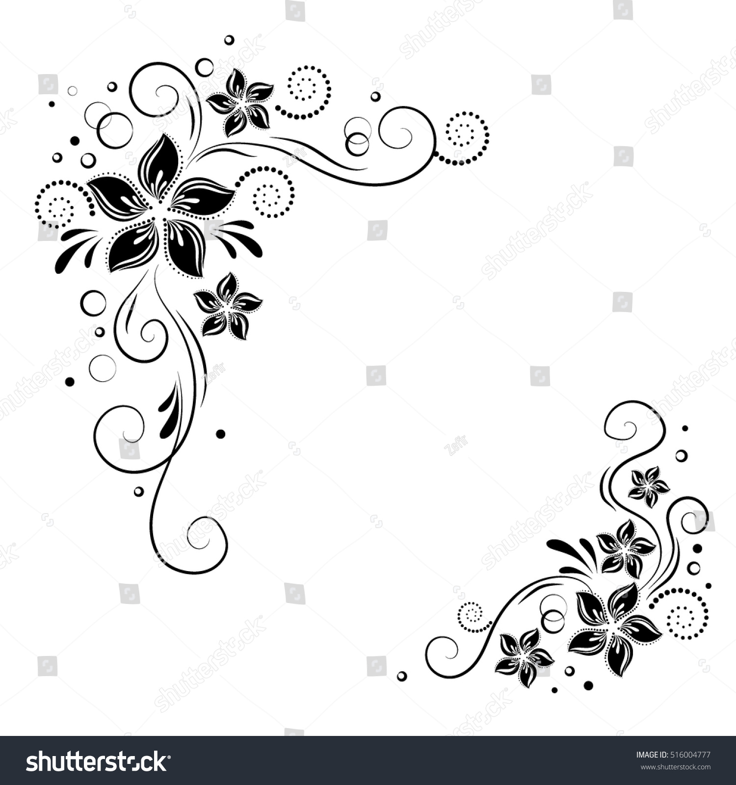 Decorative Black Flower Border Stock Image: Floral Corner Design Ornament Black Flowers Stock Vector