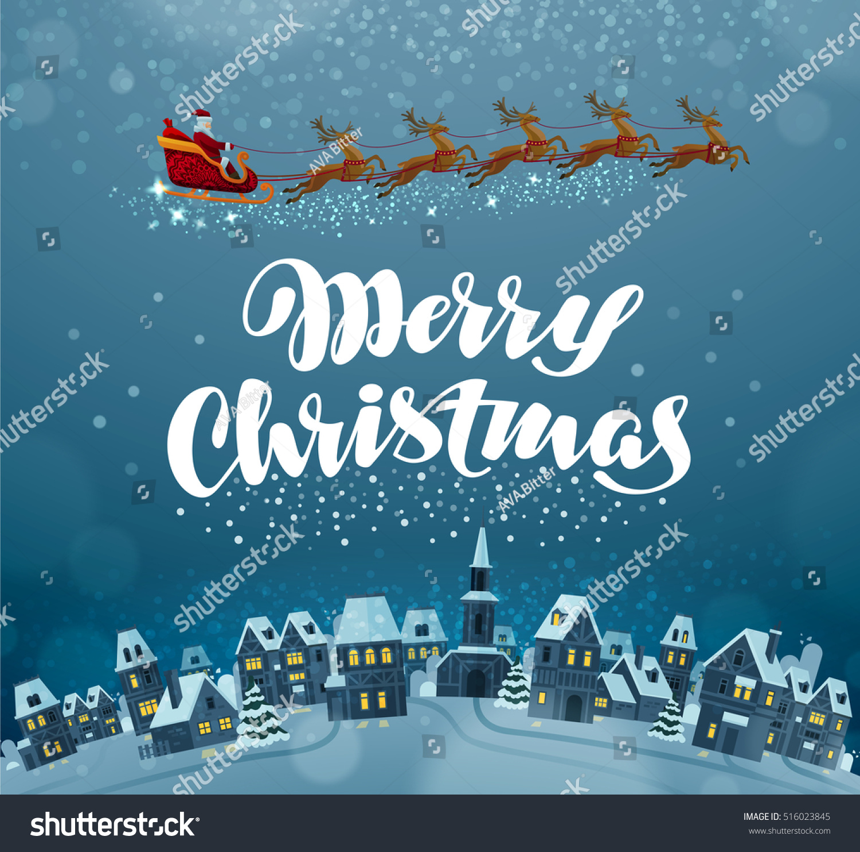 Merry Christmas Xmas Greeting Card Vector Stock Vector (Royalty Free ...