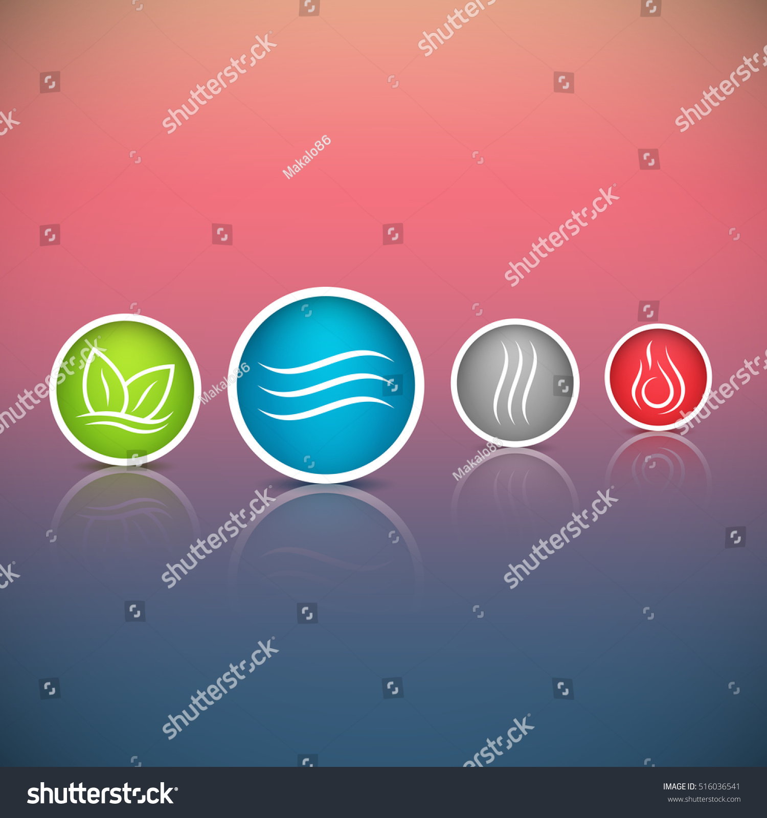Four Forces Elements Water Fire Earth Stock Vector 516036541