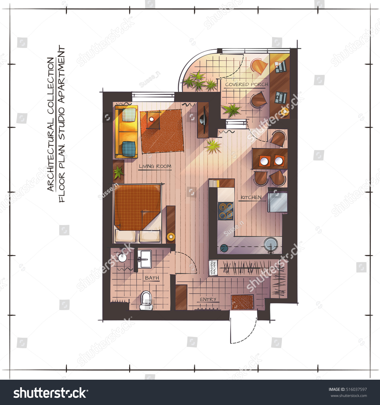 Architectural color floor plan studio apartment stock for Apartment stock plans