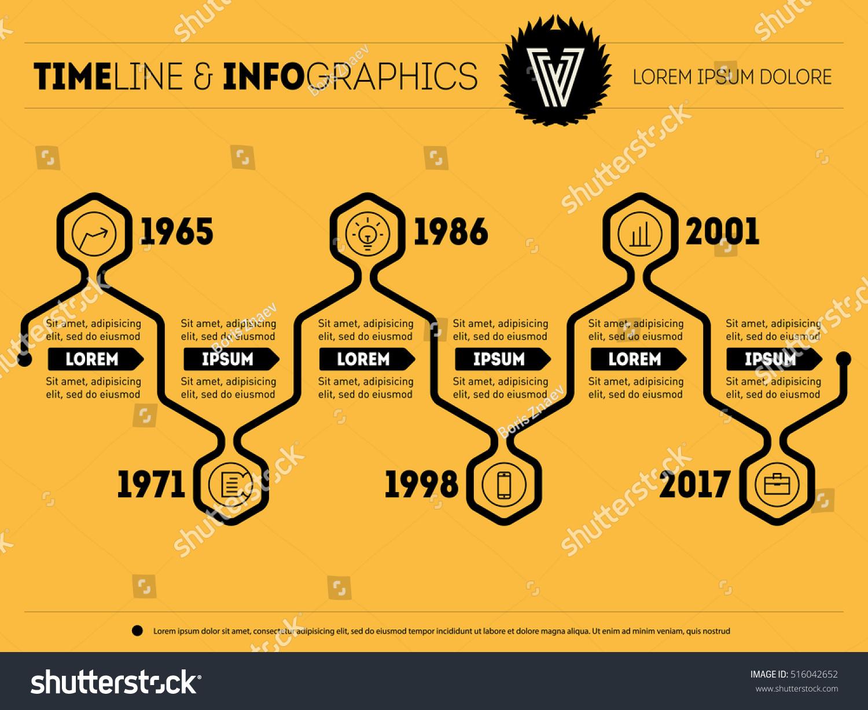 Horizontal Timeline Infographics F Stock Vector 206825782