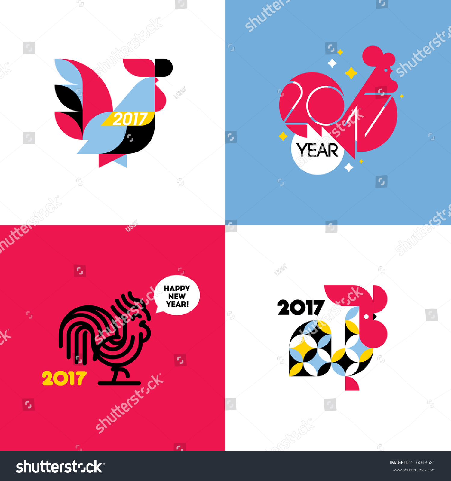 New year design with silhouette of rooster set of modern flat style vector illustrations of - Cock designing ...