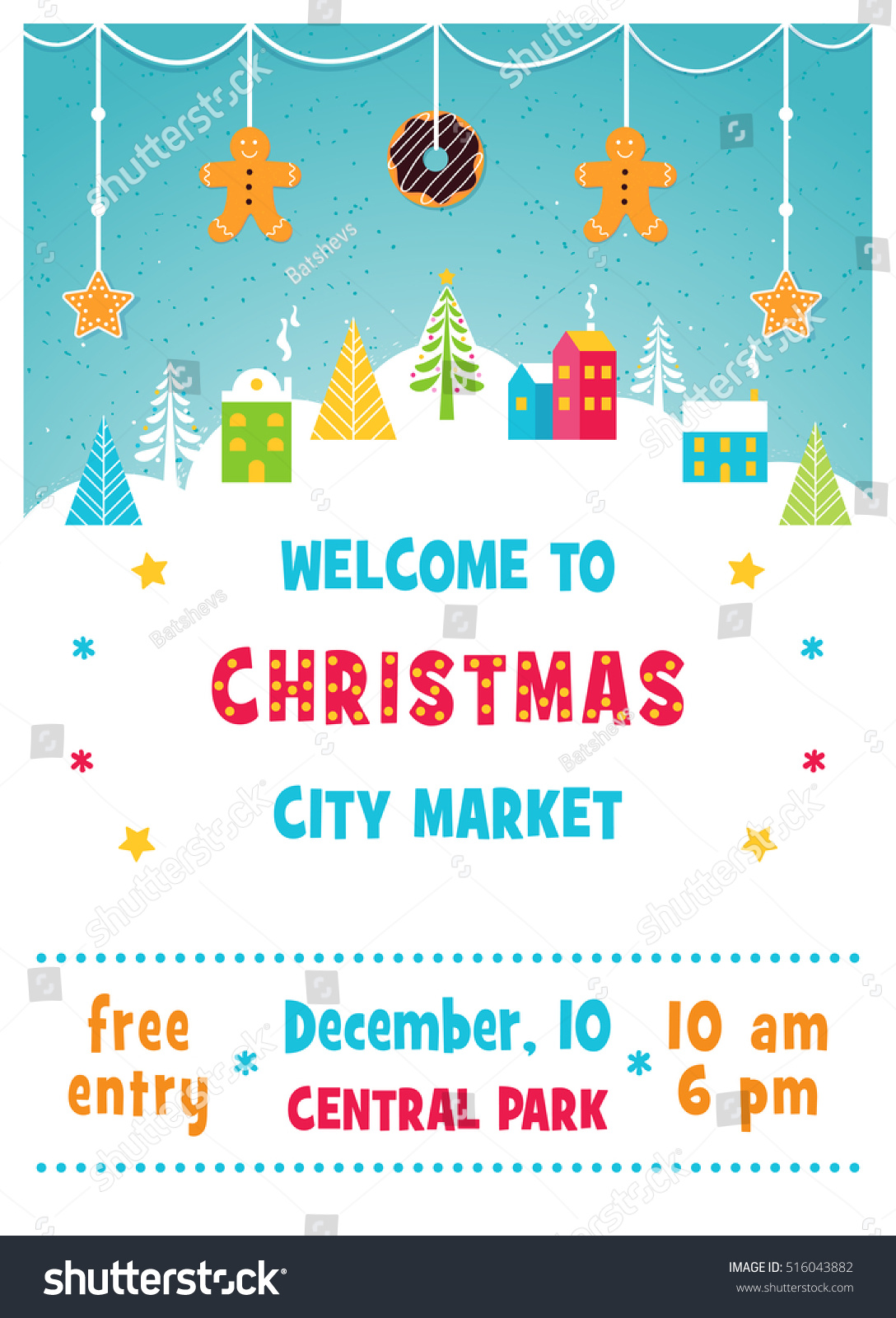 Christmas Holiday Market Fair Poster Snowy Stock Vector (Royalty ...